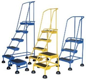 Commercial Spring Loaded Rolling Ladder 2 Step - Rubber - Yellow-0